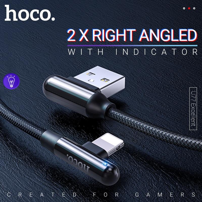 Hoco cabo usb a para lightning para iphone ipad zinco conector direito angular carregamento rápido sincronização de dados cabo de fio carregador indicador