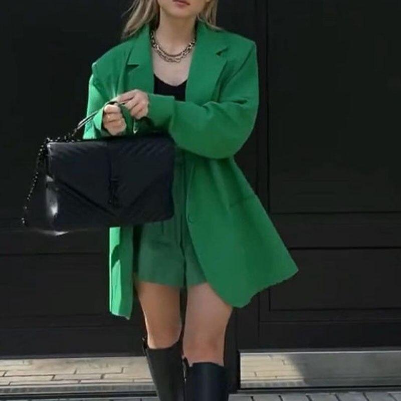 Женская Повседневная Свободная куртка блейзер с карманами, Женский блейзер для женщин, осенние женские блейзеры и куртки с длинным рукавом,...
