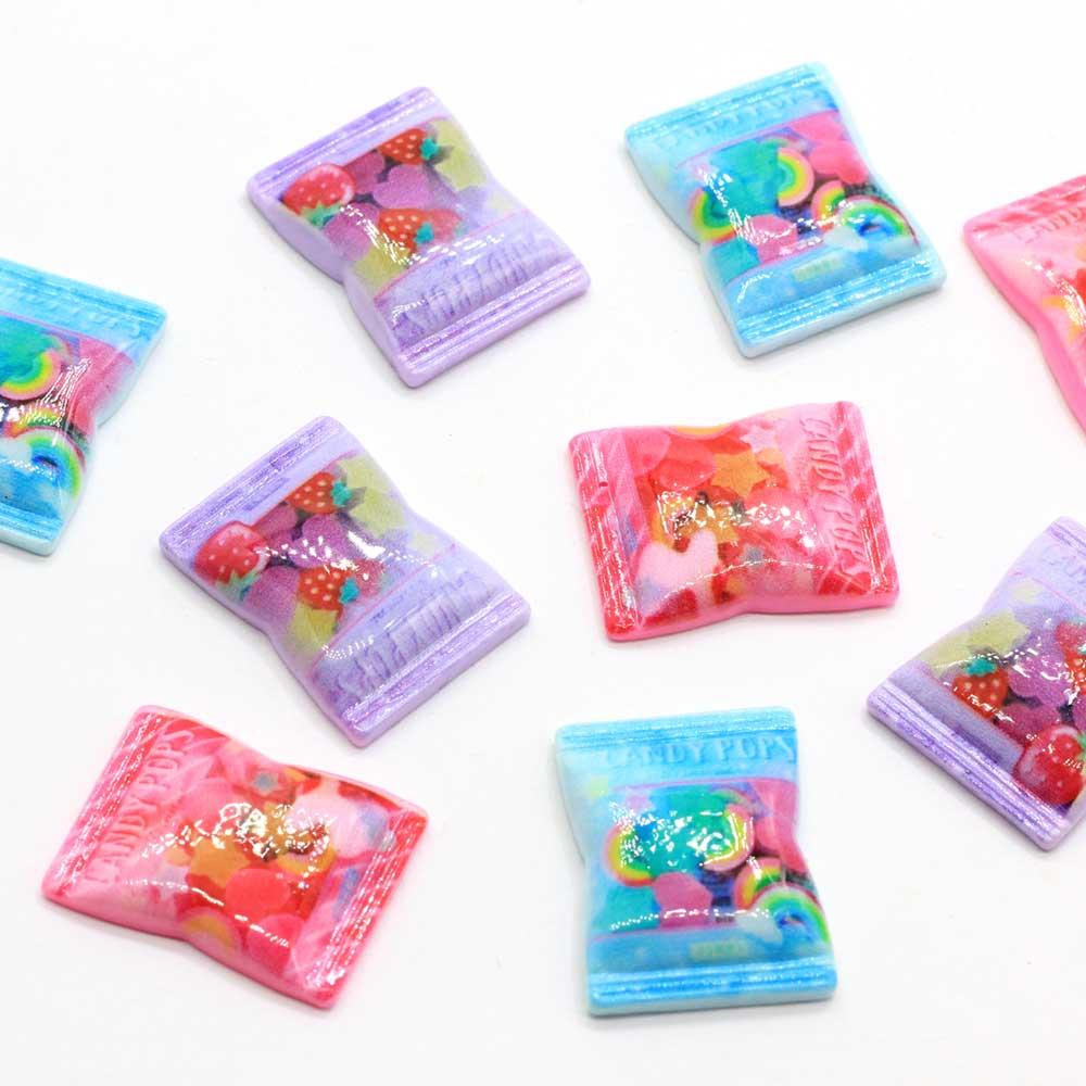 20/100 Uds resina Flatback dulce caramelo parte posterior plana Cabochons Mini adornos de comida casa de muñecas para DIY pelo Bow joyería Centro Dec