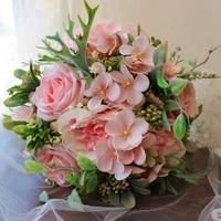 2020 new listing cheap whitepurplepink roses silk flower girls florist giant bridemaid bouquets