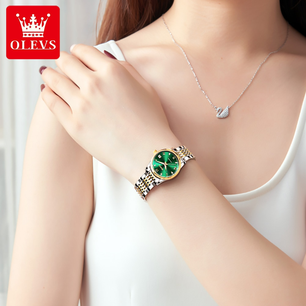 OLEVSTop Luxury Women Wristwatch Automatic Mechanical Waterproof Watch Stainless Steel Business Watchstrap Lady Watches 6602 enlarge