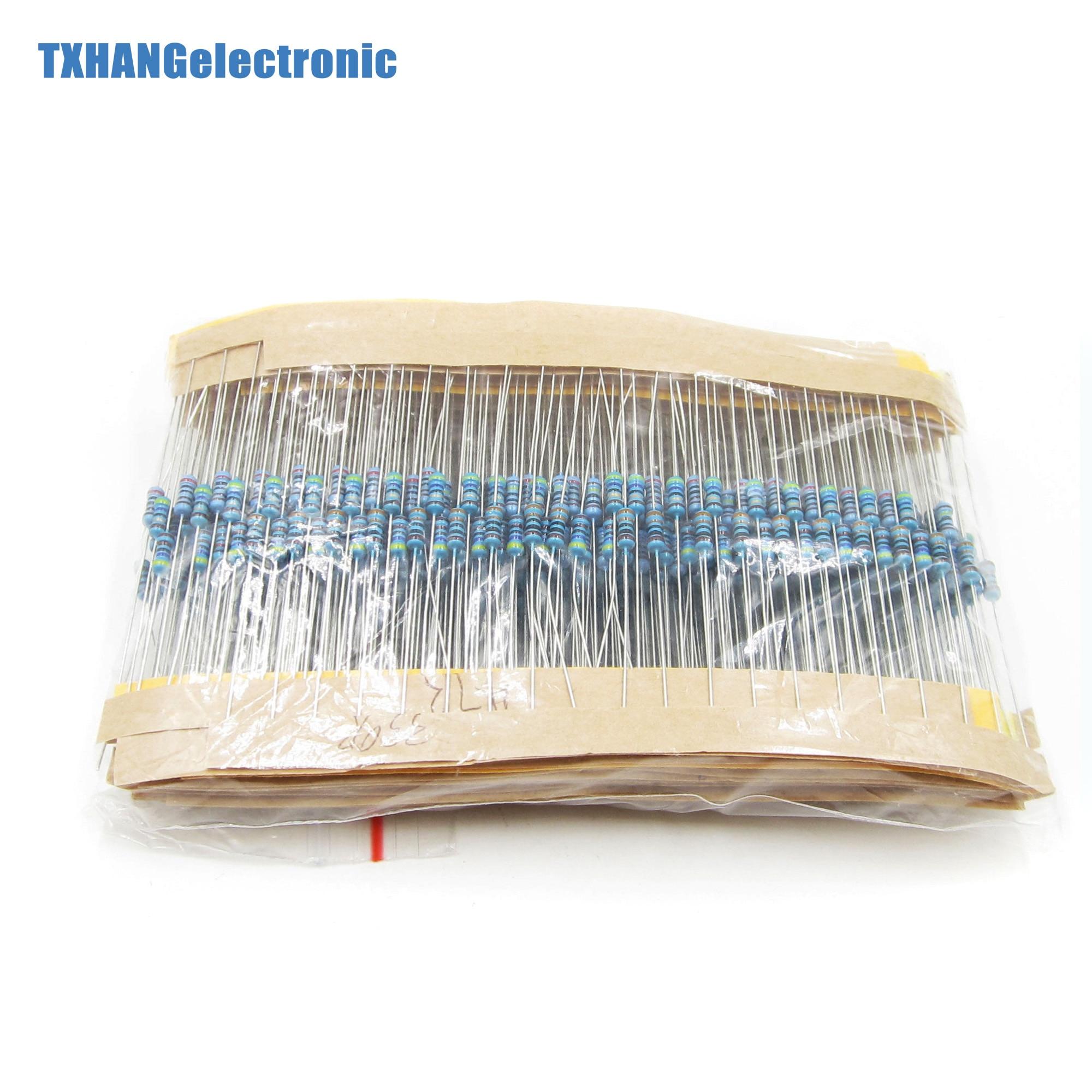 600 unids/lote 30 tipos cada paquete de resistencias de película metálica de valor 1/4 W 1% Resistor surtido conjunto elextrónico