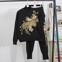 manual beading diamond sequins embroidery knit tracksuit set women o neck pullover sweater pencil pants knitwear outfits female