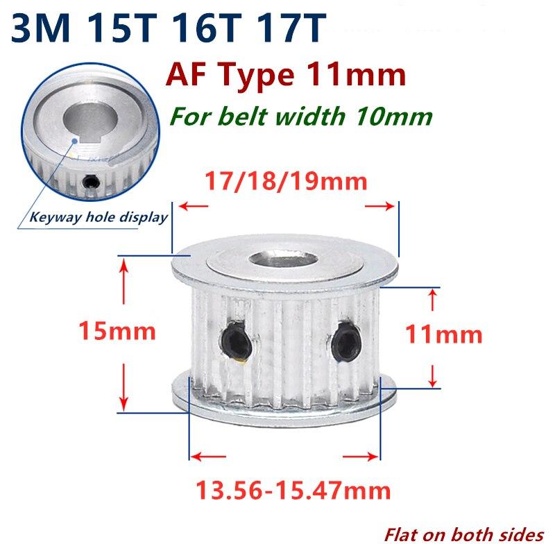 15 16 17 dientes arco HTD 3M polea de distribución diámetro 4mm-8mm para ancho 10mm 3M correa síncrona HTD3M Correa polea rueda engranaje 15 dientes 15T