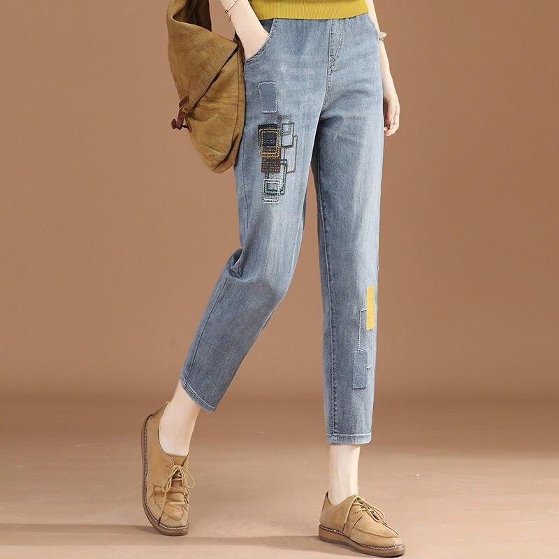 Брюки-султанки из тонкой джинсовой ткани с эластичным поясом, Новинка лета 2021, подходящие ко всему брюки-султанки с вышивкой, джинсы для мам