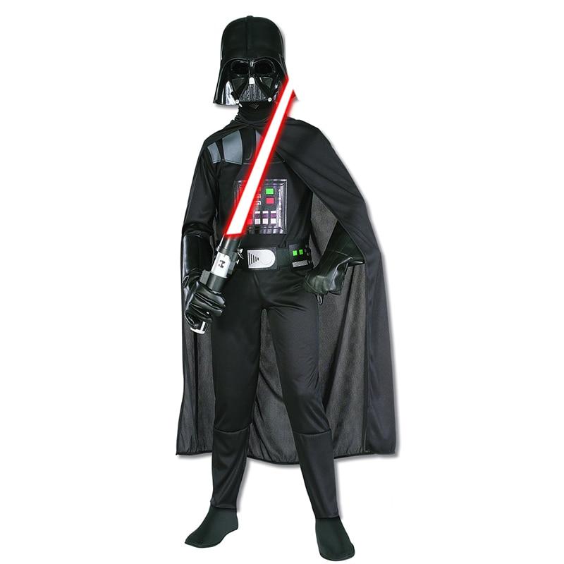 Reneecho Halloween Costume For Kids Black Darth Jumpsuit Vader Cosplay Boys Birthday Party Costume