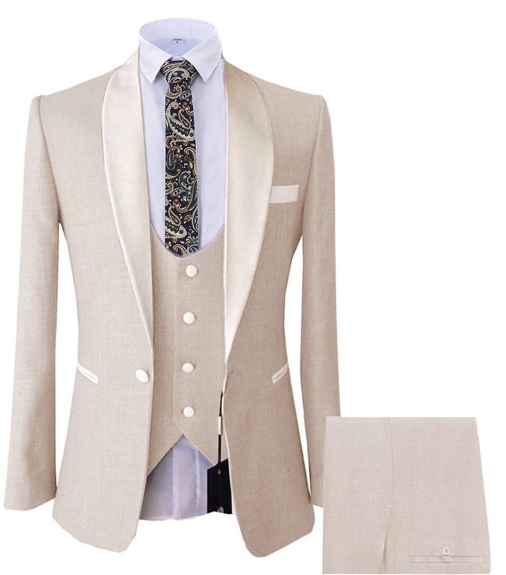 3 peças terno masculino blazer casual formatura bege smoking tweed xale lapela jantar festa borgonha jaqueta para noivos de casamento