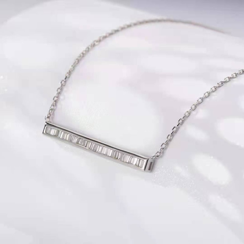 Promo 18K White Gold Real Natural Diamond Fine Jewelry Necklace Gifted for Women 18 Inch Link Chain Au750