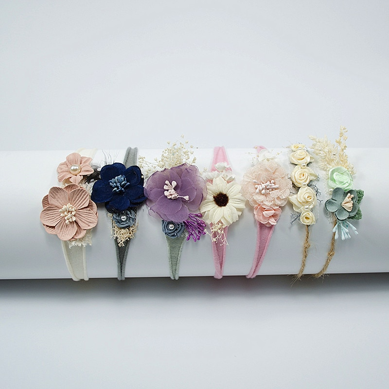 fashion multi color simulation rose flower baby stretch headband newborn photography props infant toddler hair band Kids Toddler  Newborn Headband  Baby Girl Hearband Hair Accessories Flower Girl Headwear Newborn Photography Props