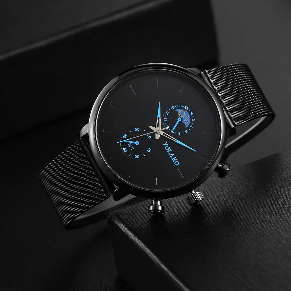 2020 relojes de lujo de acero inoxidable para hombre, reloj de pulsera de malla negro Ultra delgado, reloj de cuarzo analógico informal de negocios para hombres