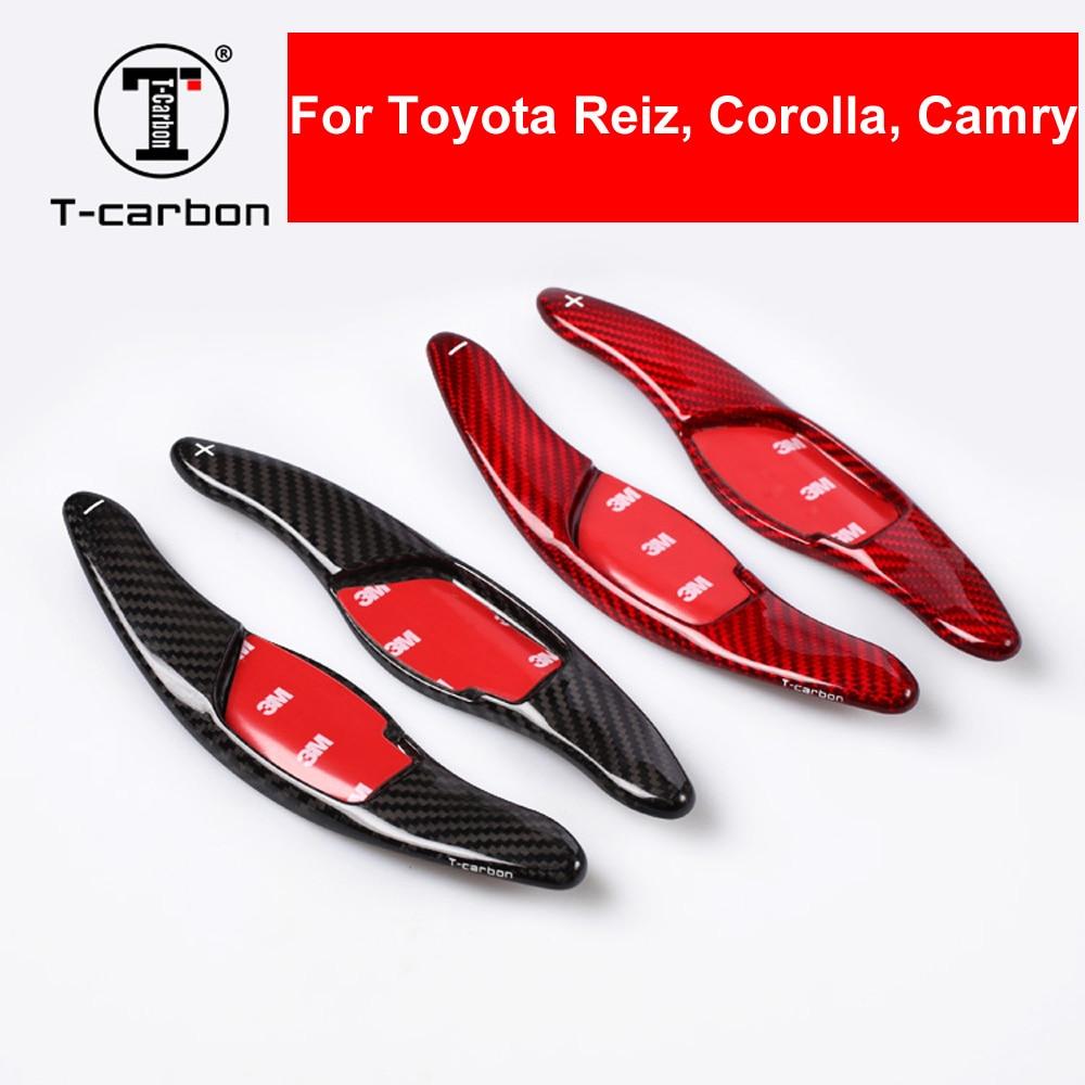 Estilo do carro real da fibra do carbono volante shifter paddle shifter extensão para toyota toyota reiz corolla camry interior