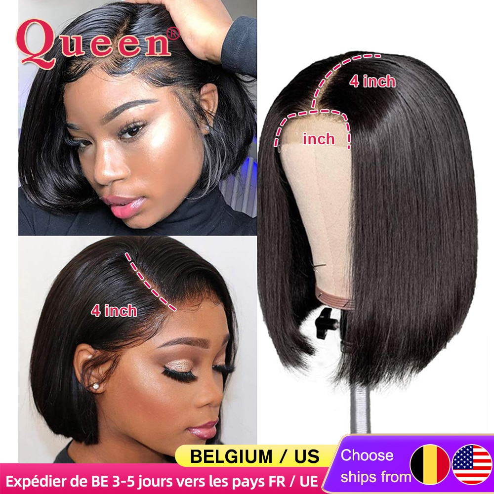 Blunt Cut Bob Wig Brazilian Lace Front Human Hair Wigs Straight Bob Wig For Women Remy 4X4 Lace Closure Bob Wigs With Baby Hair