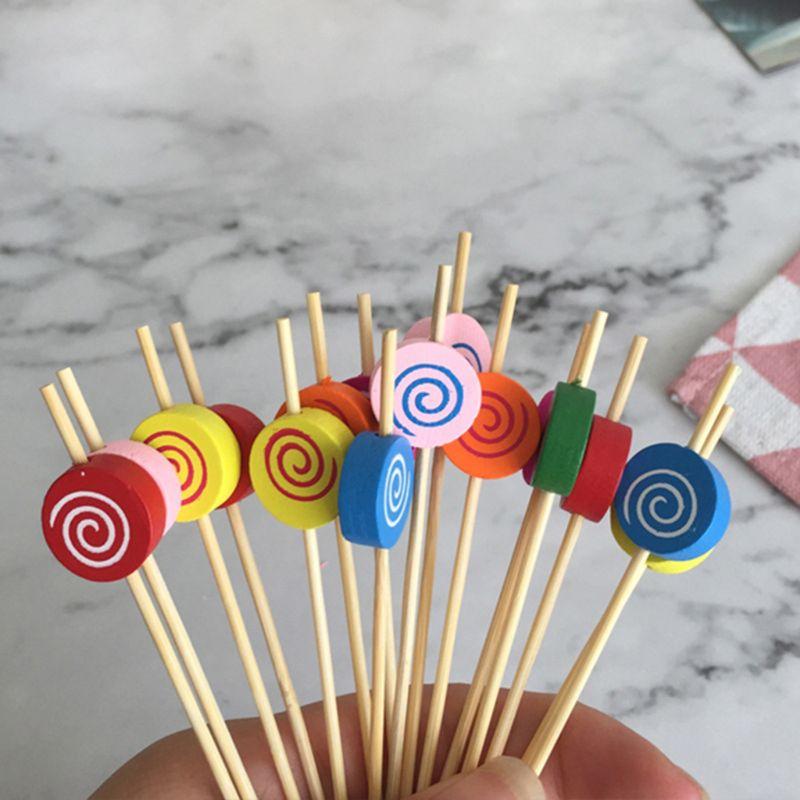 100 pçs lollipop picaretas de comida sobremesa buffet salada de frutas garfo bolo muffin festa varas vegetais cocktail palitos bolo sinal