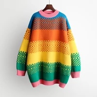 2020 women warm rainbow sweater and pullover colorful striped knitwear long oversized pull sweaters