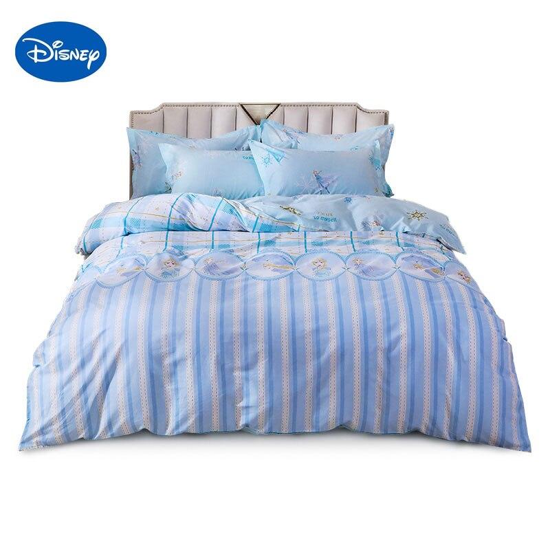 Disney congelado 2 jogo de cama adorável elsa dos desenhos animados único tamanho da rainha roupa crianças capa edredão fronhas