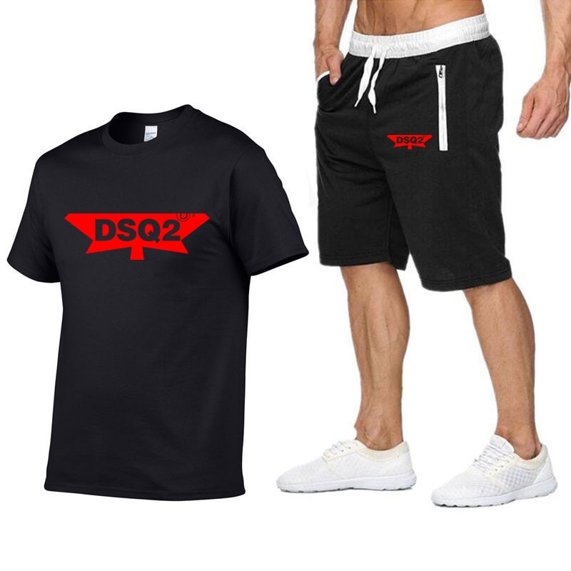 Dskicont2 dsqicont2 carta camiseta shorts definir masculino verão 2pc treino + shorts define praia casual topos camisetas sportwears t camisa