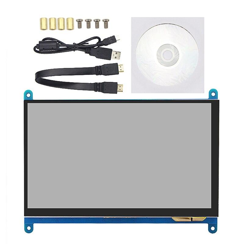 مناسبة ل Raspberry Pi 4B/3B + 7 بوصة عرض 800X480 شاشة كمبيوتر محمول ذات دقة عالية الصحافة Sn + HDMI-متوافق كابل + كابل مهايئ USB
