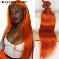 rebecca orange ginger hair bundles brazilian straight remy human hair extensions 8 to 28 inch 134 bundles