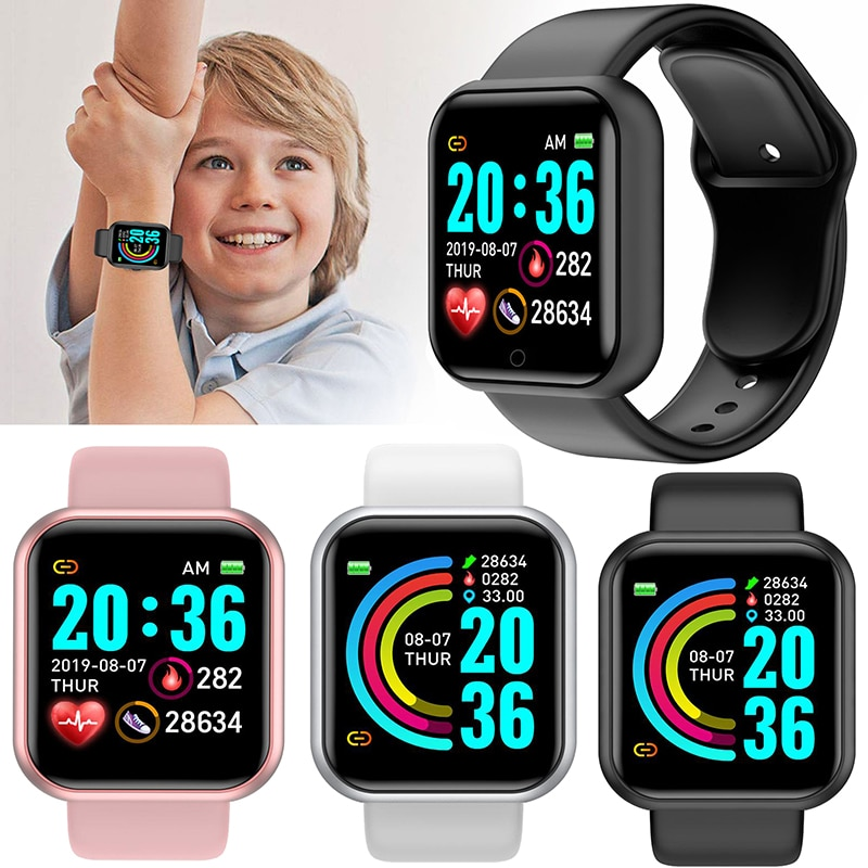 Цифровые умные спортивные часы детские наручные цифровые светодиодные электронные наручные часы Bluetooth Fitnes наручные часы для женщин мальчи...