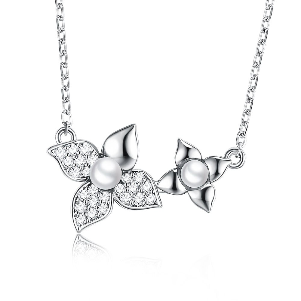 SILVERHOO S925 Sterling Silver Necklace Flower Shaped Cubic Zirconia Necklace For Women Best Selling