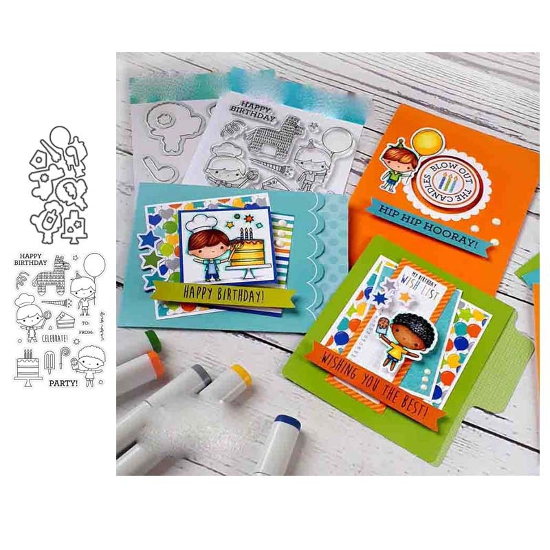 Cutting Dies & Clear Stamp Chef Cake Balloon Trojan Horse Birthday Candle Handbooking Scrapbook Paper Embossing Stencil DIY Seal
