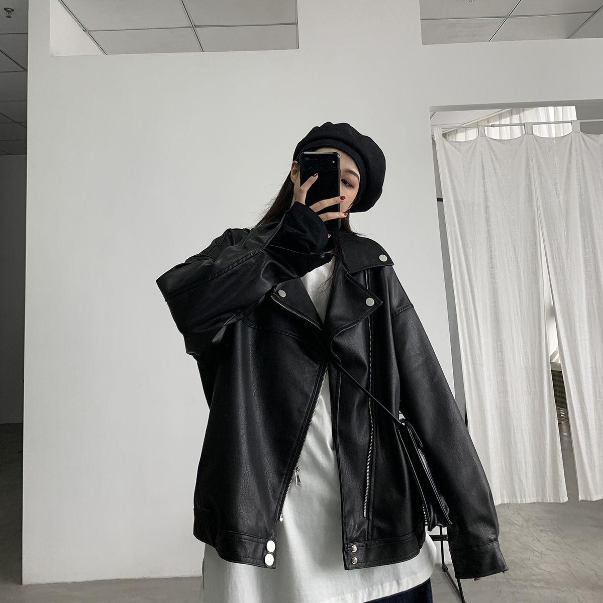 Женская куртка из искусственной кожи, модная куртка большого размера в стиле High Street, Готическая локомотивная одежда, верхняя одежда, новинк...