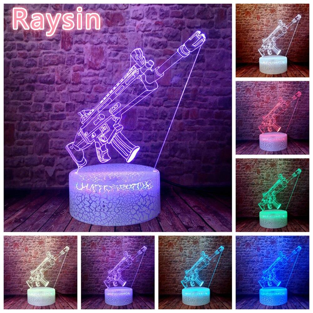 Battle Royale pistola de cicatrices modelo de arma Rifle de francotirador Silent Gun 3D ilusión LED de noche luz colorida intermitente lámpara de escritorio figura Juguetes