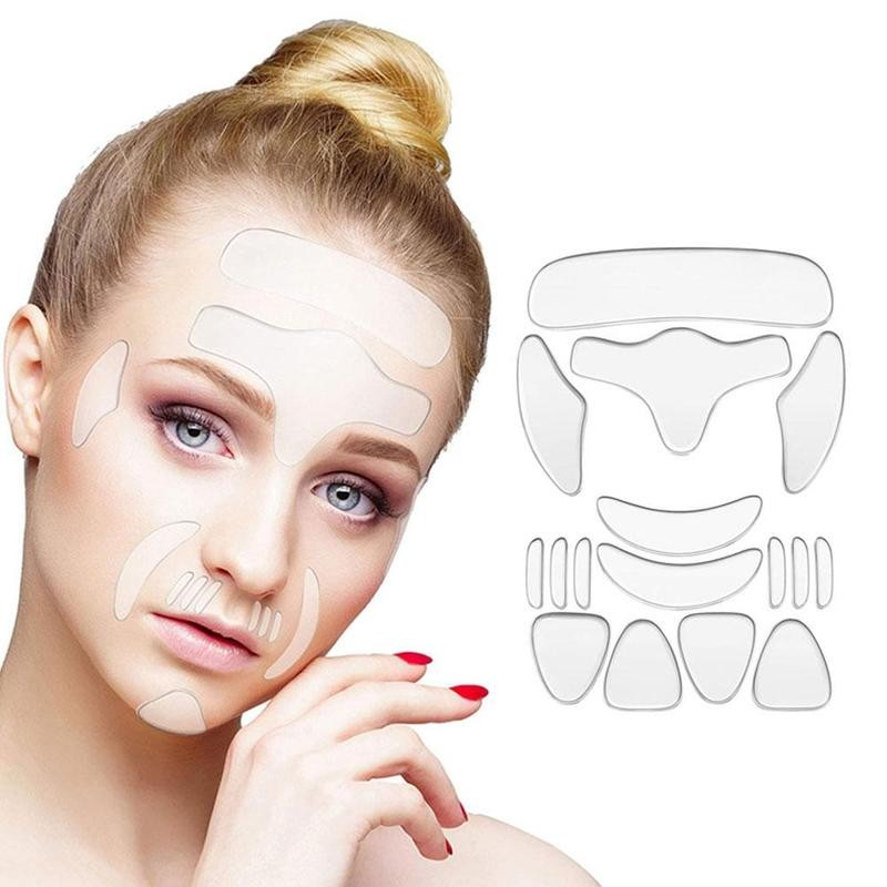 16pcs Reusable Silicone Patches Anti Rimpel Pads Silicone Wrinkle Removal Sticker Face Forehead Neck