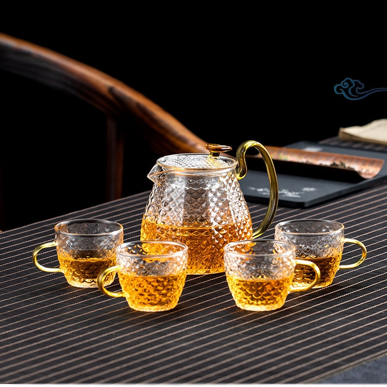 مطروق نمط مجموعة أكواب الشاي الزجاجية مرشح الزجاج المنزلية مجموعة براريد للشاي مجموعة الشاي المنزلية هدية