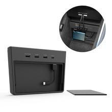 Für Tesla Modell 3 Wireless Charging Pad Typ-C Anschluss Center Console Storage Box USB Hub 5 Ports