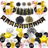 50 pcs balloon kit congrats graduation ceremony balloon decor black gold flag balloon kit for graduation party supplies
