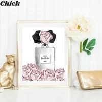 Affiche de parfum de fleur rose a la mode pour femmes  levres argentees  maquillage  toile imprimee  peinture artistique  image murale  decor de maison moderne pour chambre de fille
