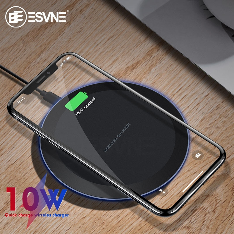 Cargador inalámbrico rápido ESVNE 10W para iPhone X Xs MAX XR 8 plus cargador para Samsung S8 S9 Plus Note 9 8 cargador USB Qi