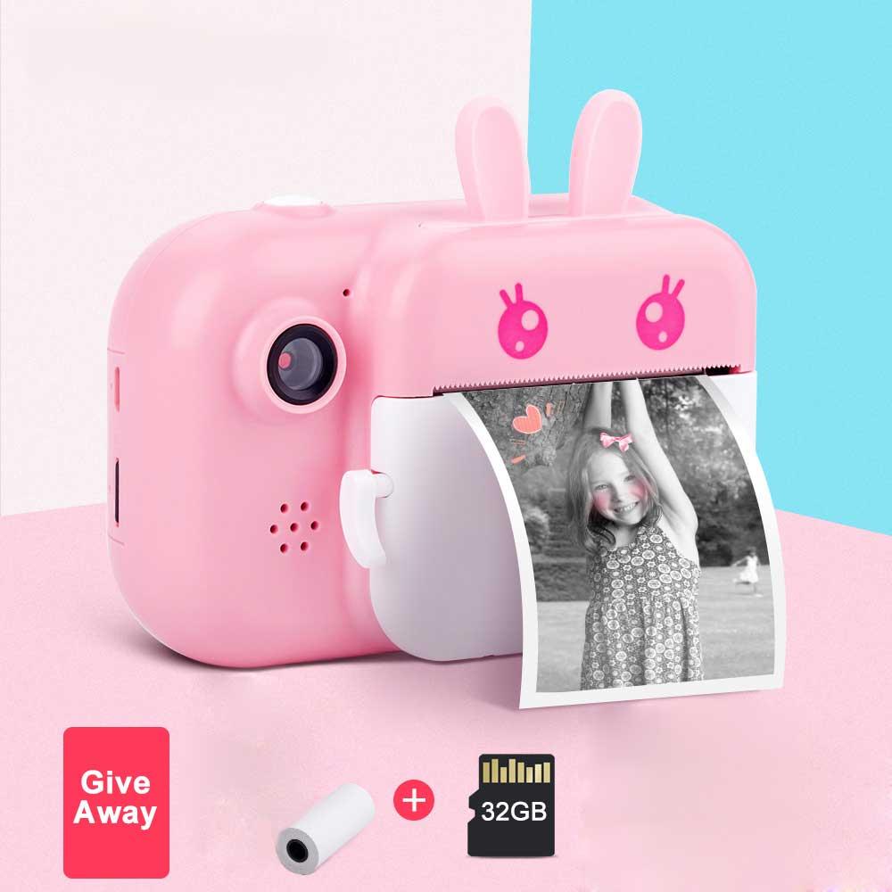 أطفال كاميرا واي فاي لحظة طباعة كاميرا طابعة حرارية لاسلكية واي فاي طابعة الهاتف 32GB بطاقة 1080P HD الأطفال كاميرا رقمية لعبة