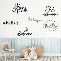 gratid%c3%a3o sorria feliz believe love you portuguese quotes vinyl wall stickers mural for livingroom decor decals poster ru2228