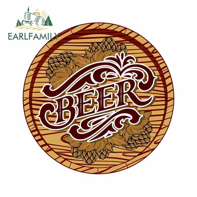 Earlfamily 13cm x 13cm para a cor com barril de cerveja e hop decalque do carro pára-choques janela material protetor solar impermeável adesivos