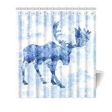 Красивый зимний пейзаж с синим лосем оленем силуэт домашний Декор водонепроницаемый полиэстер ванная душевая занавеска для ванной с
