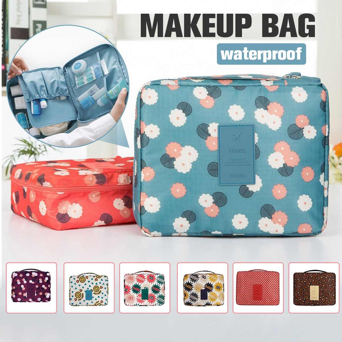 Nueva Bolsa portátil de almacenamiento de cosméticos de doble capa impermeable de Color mixto bolsa de maquillaje bolsa de viaje de lavado (Color al azar al momento de la entrega)