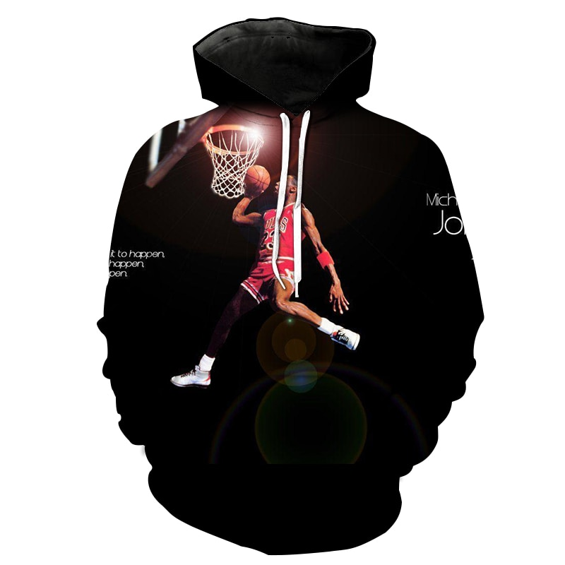 2021style new 3D printing loose and comfortable hooded pullover basketball star 3D personality casual fashion hooded sweatshirt  - buy with discount