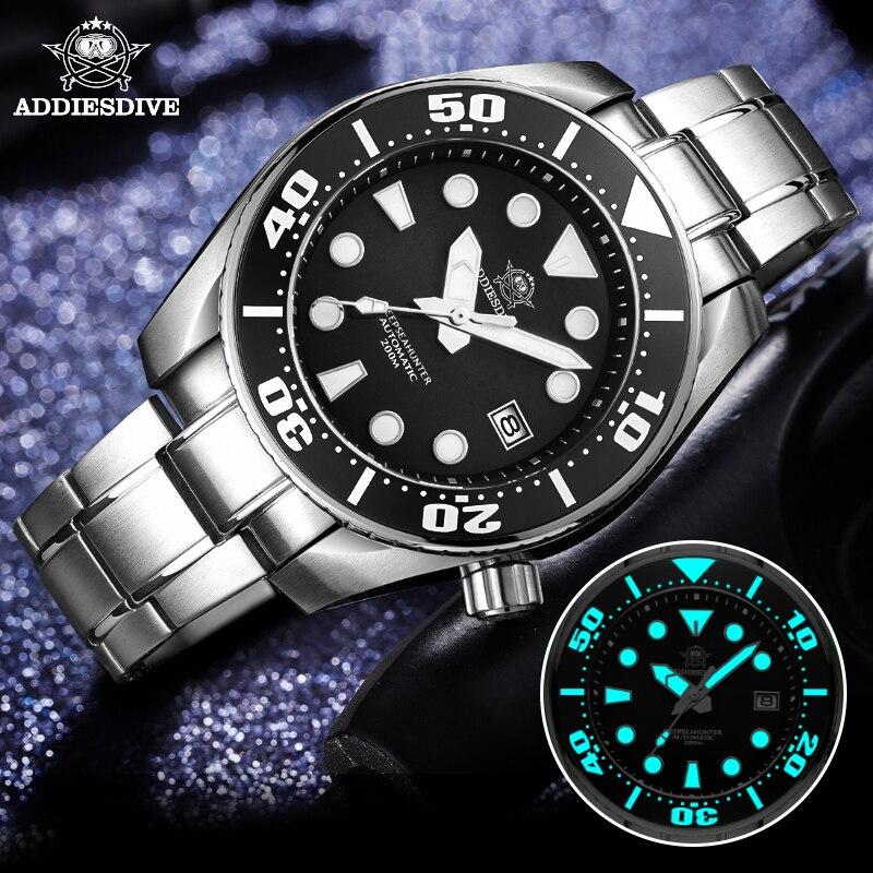 Adesdive-ساعة يد رجالية ذاتية الملء ، ساعة يد أوتوماتيكية ، قرص مضيء من الكريستال الياقوتي ، مقاومة للماء حتى 200 متر ، NH35 BGW9