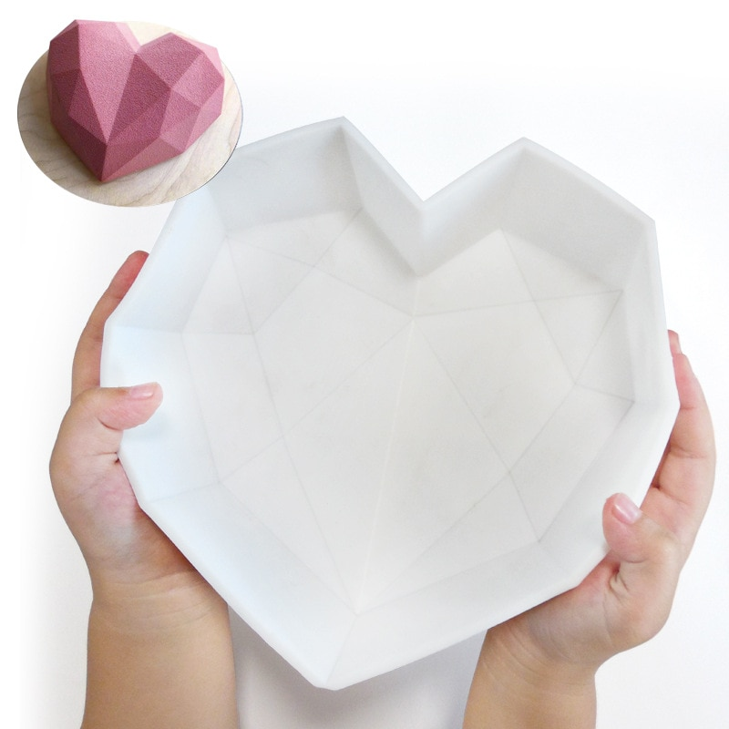 Силиконовая форма для торта в форме сердца с мини-молотком, 3D геометрическая форма для торта, силиконовая форма для Мусса/шоколадных тортов ...