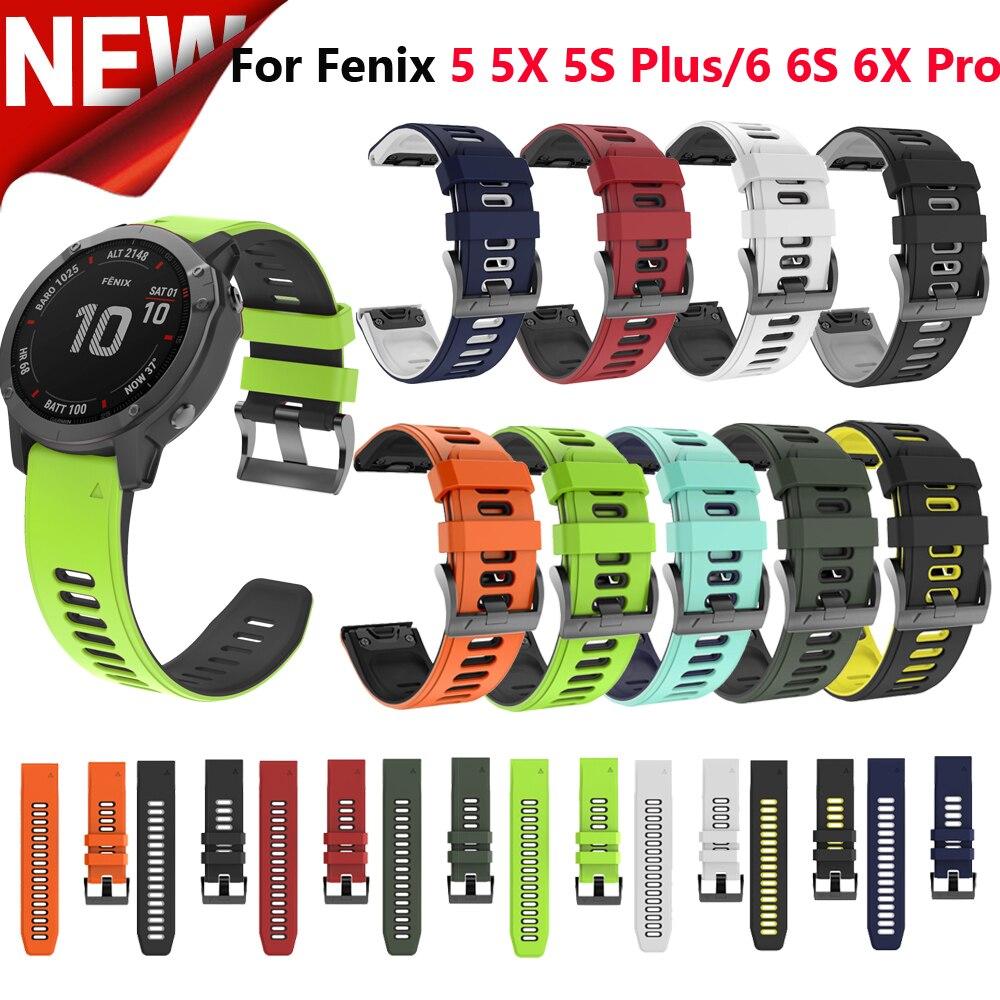 Correas de silicona para relojes Garmin Fenix, pulsera deportiva de silicona de 20, 22 y 26mm para relojes Garmin Fenix 6X, 6, 6S, Pro, 5X, 5, 5S Plus, 3 HR, fácil colocación, pulsera de liberación rápida
