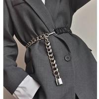elastic silver chain belt ladies dress cummerbunds stretch corset belts for women high quality coat ceinture femme lock metal