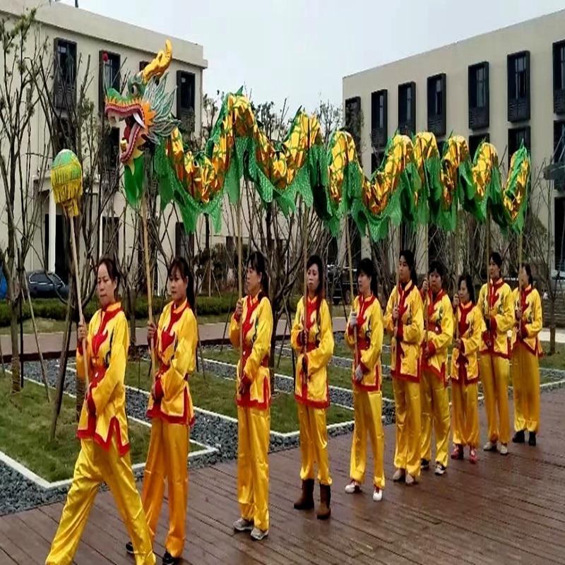 13m Golden Length Dragon Dance Costume 10 Players Children Student School  Art Halloween Party Performance Parade Folk Stage