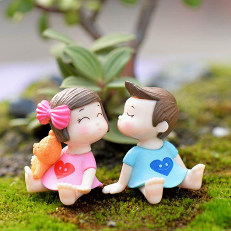 Sweety Liebhaber Paar Figuren Miniaturen Fee Garten Gnome Moos Terrarien Harz Handwerk Dekoration Zubehör