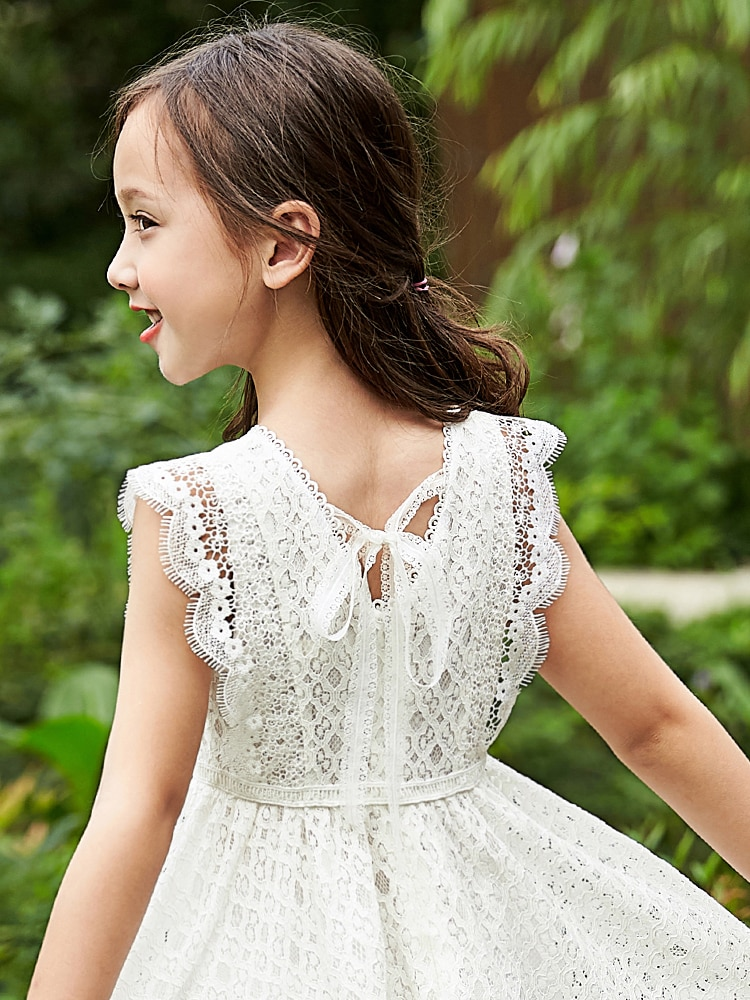 Sweet Kids White Lace Dresses for Girls 6 8 10 12 years Sleeveless Summer Princess Clothing Teen Girl Party Birthday Dress