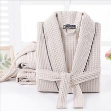 Mujeres 100% de algodón de verano largo sólido novia bata de manga completa Waffle Sleep Lounge batas Kimono bata de baño ropa de noche de mujeres ropa de dormir