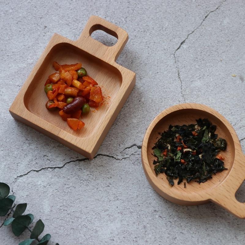 Round square rectangular small plate wooden tray food snack dessert dish seasoning sauce dish  LB112914
