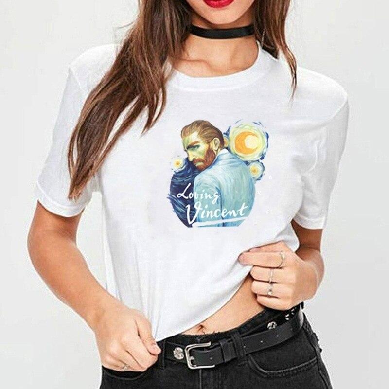 Starqueen-JBH amour Vincent film t-shirt Van gogh tourner autour de lart femmes t-shirt 100% coton Harajuku Hipster o cou t-shirt