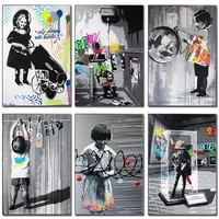 wall artwork banksy graffiti art canvas painting on the wall art posters prints wall pictures for living room home wall cuadros